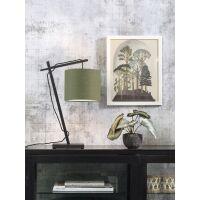Tischlampe ANDES Bambus schwarz/Schirm Ø18cm Green...