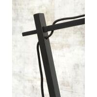 Tischlampe ANDES Bambus schwarz/Schirm Ø18cm Hellgrau