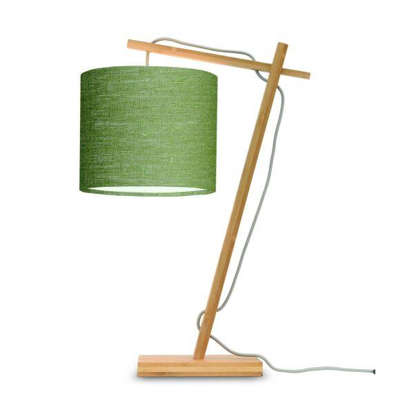 Tischlampe ANDES Bambus naturel/Schirm Ø18cm Green Forest