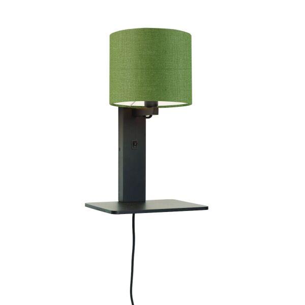 Wandlampe ANDES Bambus schwarz mit Regal, Schirm aus Leinen Forest Green
