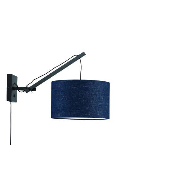 Wandlampe ANDES Gr.S Bambus schwarz/Blue Denim