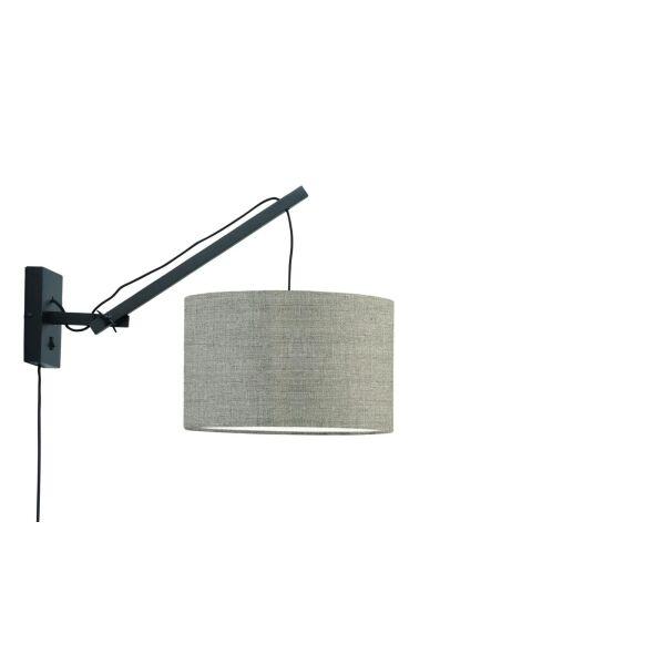 Wandlampe ANDES Gr.S Bambus schwarz/Leinen dunkel