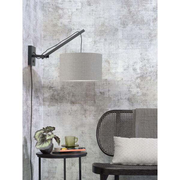 Wandlampe ANDES Gr.S Bambus schwarz/Schirm hellgrau