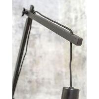 Wandlampe ANDES Gr.L Bambus schwarz/Schirm Ø47cm hellgrau