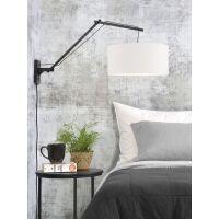 Wandlampe ANDES Gr.L Bambus schwarz/Schirm Ø47cm weiß
