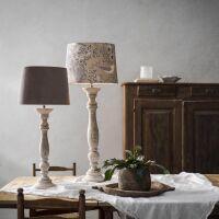 Lampenfuß LODGE Holz Vintage weiß 63 cm