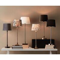 Tischlampe LIAM mit Textilschirm schwarz/weiß