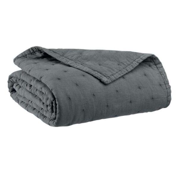 Plaid gesteppt MING 100% Baumwolle dunkelgrau 120x180cm