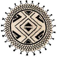 Runder Teppich SAMI Boho-Style creme/schwarz Ø160cm