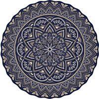 Vinyl Teppich rund MATTEO Mandala 3 blau