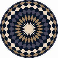 Vinyl Teppich rund MATTEO Mandala 4 blau/beige