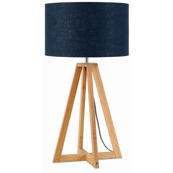 Tischlampe Everest Bambus Leinen Blue Denim