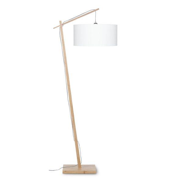 Stehlampe ANDES Bambus/Leinen weiss