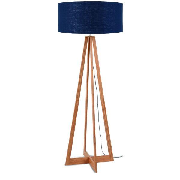 Stehlampe Everest Bambus Leinen Blue Denim