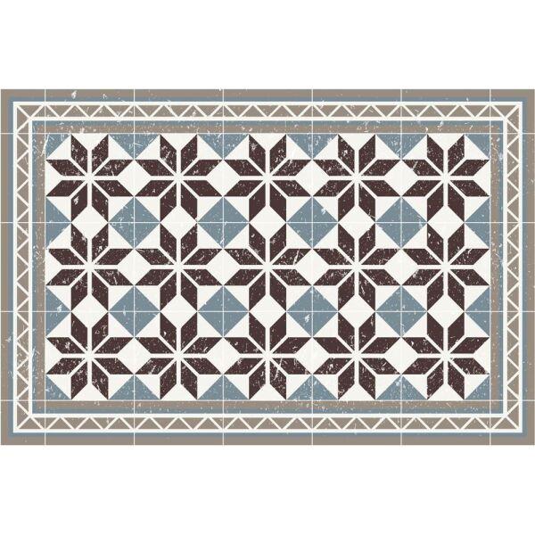 Vinyl Teppich MATTEO Fliesen blau 60 x 90 cm