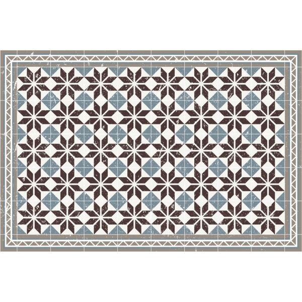 Vinyl Teppich MATTEO Fliesen blau 90 x 135 cm