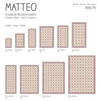 Vinyl Teppich MATTEO Fliesen Orange 90 x 160 cm