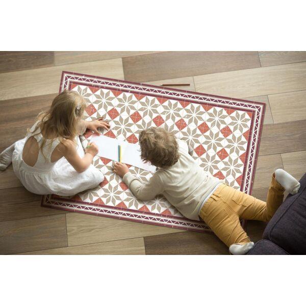 Vinyl Teppich MATTEO Fliesen Orange 118 x 180 cm