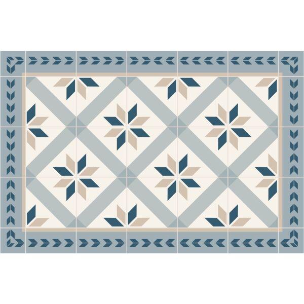 Vinyl Teppich MATTEO Fliesen 1 blau 40 x 60 cm