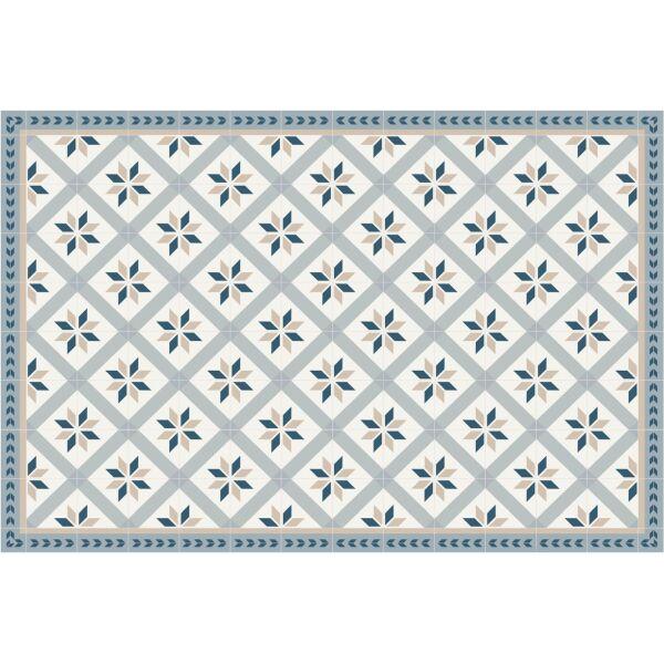 Vinyl Teppich MATTEO Fliesen 1 blau 90 x 135 cm