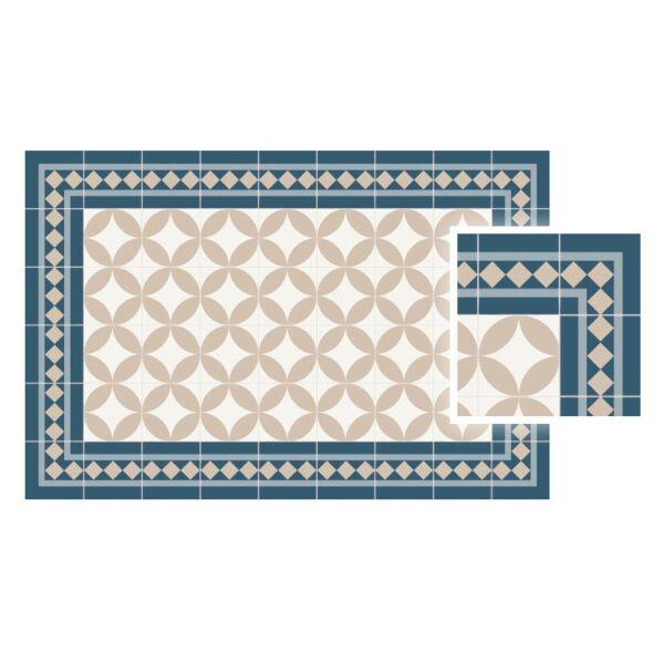 Vinyl Teppich MATTEO Fliesen 2 blau 70 x 140 cm