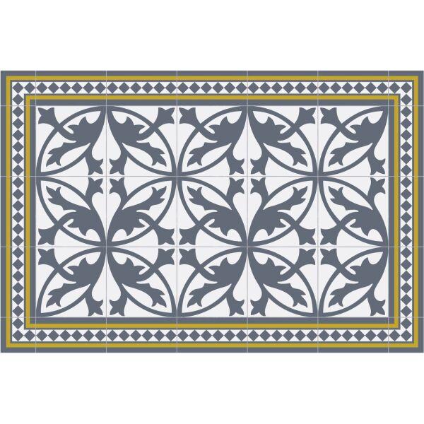 Vinyl Teppich MATTEO Fliesen 7 Blau 60 x 90 cm