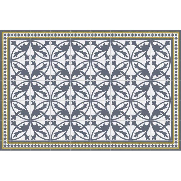 Vinyl Teppich MATTEO Fliesen 7 Blau 90 x 135 cm