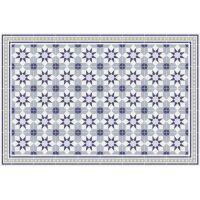 Vinyl Teppich MATTEO Fliesen 6 Blau 60 x 90 cm