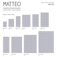 Vinyl Teppich MATTEO Fliesen 6 Blau 70 x 180 cm