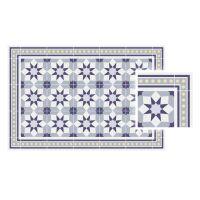 Vinyl Teppich MATTEO Fliesen 6 Blau 90 x 135 cm
