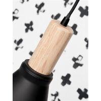Designer Hängelampe Melbourne schwarz-Holz H38
