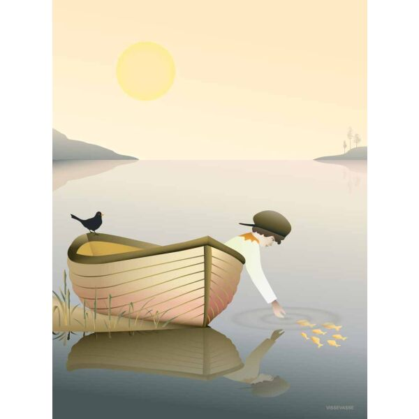 BOY IN A BOAT Poster 30x40 cm