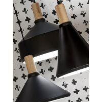 Designer Hängelampe Melbourne schwarz-Holz H30