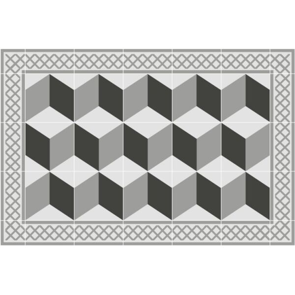 Vinyl Teppich MATTEO Fliesen 3 grau 40 x 60 cm