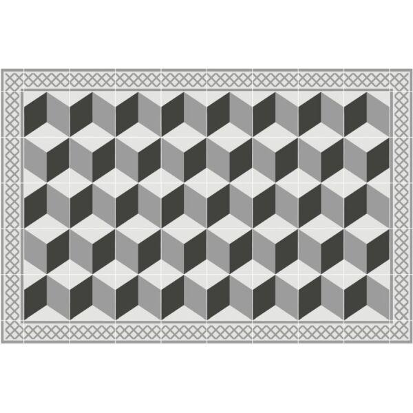 Vinyl Teppich MATTEO Fliesen 3 grau 60 x 90 cm
