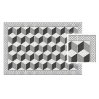 Vinyl Teppich MATTEO Fliesen 3 grau 70 x 140 cm
