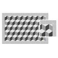 Vinyl Teppich MATTEO Fliesen 3 grau 90 x 135 cm