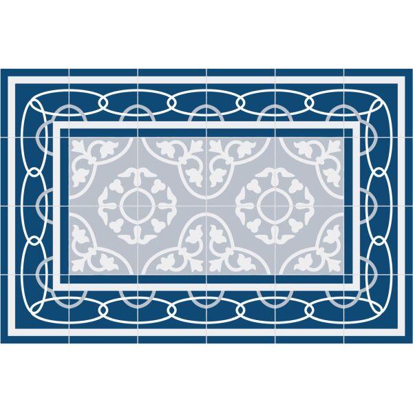 Vinyl Teppich MATTEO Fliesen 8 Blau 40 x 60 cm