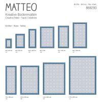 Vinyl Teppich MATTEO Fliesen 8 Blau 60 x 90 cm