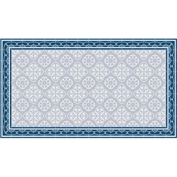 Vinyl Teppich MATTEO Fliesen 8 Blau 90 x 160 cm