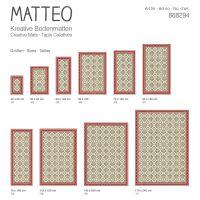 Vinyl Teppich MATTEO Fliesen 8 Rot 70 x 140 cm