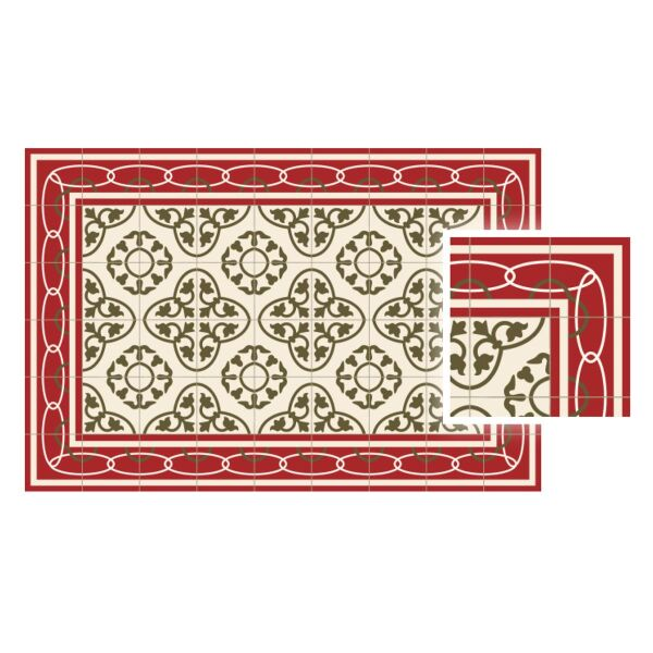 Vinyl Teppich MATTEO Fliesen 8 Rot 70 x 180 cm