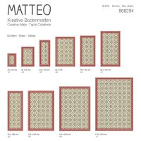 Vinyl Teppich MATTEO Fliesen 8 Rot 90 x 160 cm