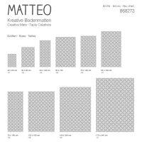 Vinyl Teppich MATTEO Leinen 6 grau 50 x 120 cm