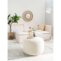 Handgefertigter Woll-Pouf Rocco Weiß 55x55x30 cm