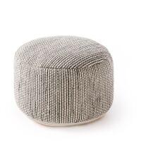 Handgefertigter Woll-Pouf Rocco Beige/Schwarz 55x55x30 cm