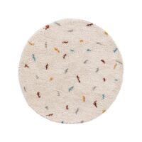 Hochflorteppich Selma Beige/Multicolor ø 120 cm rund
