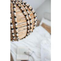 Hängelampe LISS aus Bast und Holzperlen
