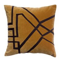 Kissen FARA Velours bestickt Bronze 45x45