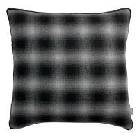 Kissen LINA aus recycled Wolle Karo schwarz/weiß 45...